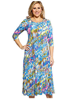 Lennie for Nina Leonard Three-Quarter Sleeved Printed Dress