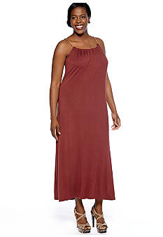 Lennie for Nina Leonard Plus Size Halter Maxi Dress with Chain Neckline
