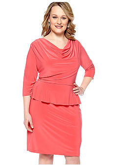 Lennie for Nina Leonard Plus Size Three-Quarter Sleeved Peplum Sheath Dress