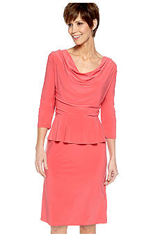 Lennie for Nina Leonard Three-Quarter Sleeved Peplum Sheath Dress