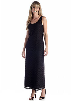 Lennie for Nina Leonard Sleeveless Allover Lace Maxi Dress.