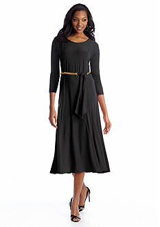Lennie for Nina Leonard Cap-Sleeve Fit and Flare Belted Dress