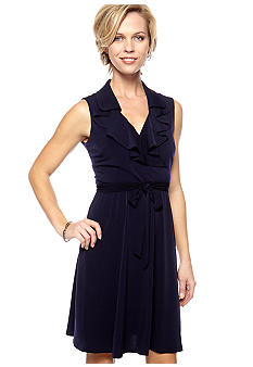 Sandra Darren Sleeveless Ruffle Neckline Dress
