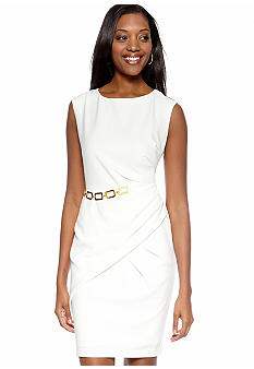 Sandra Darren Sleeveless Side Ruched Dress