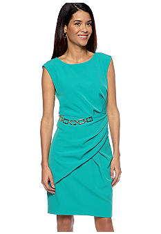 Sandra Darren Petite Pleated Sheath Dress