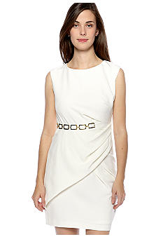 Sandra Darren Petite Sleeveless Sheath Dress with Side Pleats