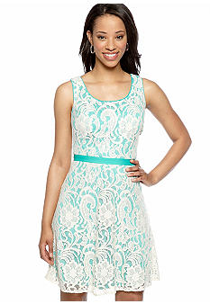 Sandra Darren Petite Sleeveless Allover Lace Dress
