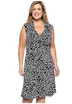 Sandra Darren Plus Size Ruffle Crossover V-Neck Dress
