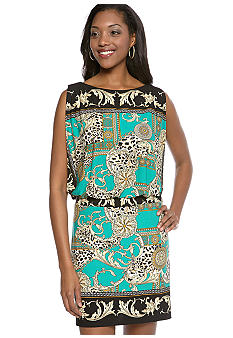 Sandra Darren Printed Blouson Dress