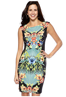 Sandra Darren Sleeveless Floral Sheath Dress