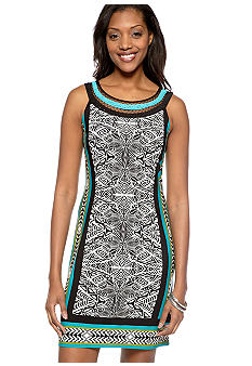 Sandra Darren Sleeveless Printed Dress with Embroidery