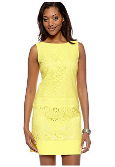 Sandra Darren Sleeveless Drop Waist Eyelet Shift Dress