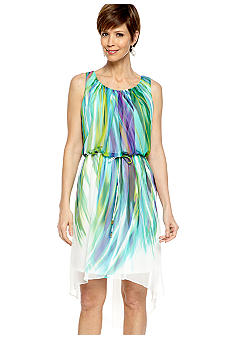 Sandra Darren Sleeveless Printed Blouson Dress