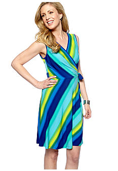 Sandra Darren Sleeveless Faux Wrap Printed Dress