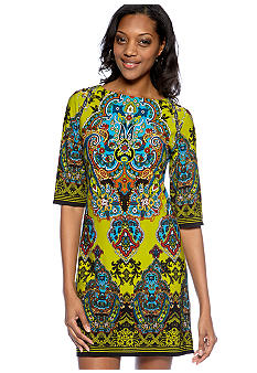 Sandra Darren Elbow-Sleeved Printed Shift Dress