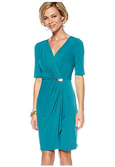 Sandra Darren Elbow-Sleeved Crossover V-Neck Dress