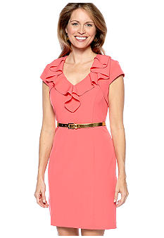 Sandra Darren Petite Cap Sleeved Ruffle Neckline Belted Dress