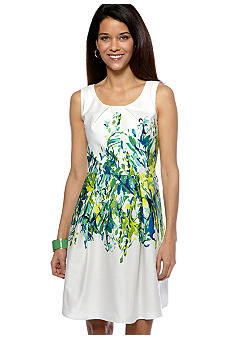 Sandra Darren Petite A-Line Placed Print Dress