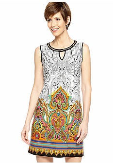 Sandra Darren Petite Sleeveless Printed Shift Dress