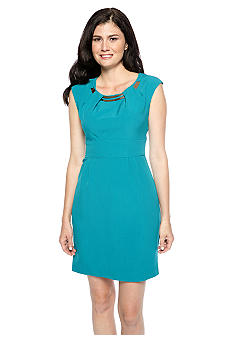 Sandra Darren Petite Elbow-Sleeved Crossover V-Neck Dress
