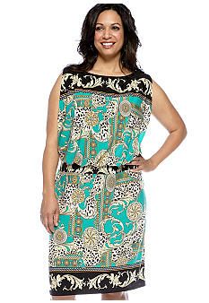 Sandra Darren Plus Size Printed Blouson Dress