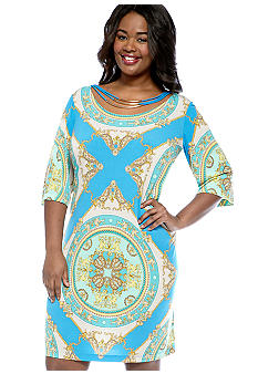 Studio 1 Plus Size Elbow Sleeve Medallion Print Dress