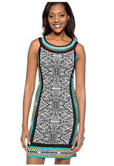 Sandra Darren Plus Size Sleeveless Printed Dress with Embroidery