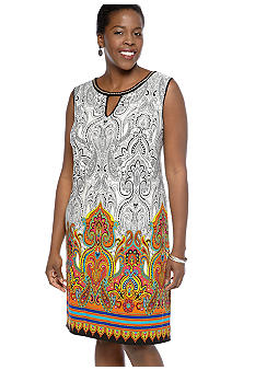 Sandra Darren Plus Size Sleeveless Paisley Printed Shift Dress