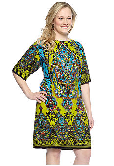 Sandra Darren Plus Size Elbow-Sleeved Printed Shift Dress