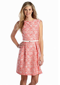 Sandra Darren Embroidered Lace Belted Fit And Flare Dress