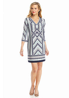 Studio 1 V-Neck Arrow Print Dress
