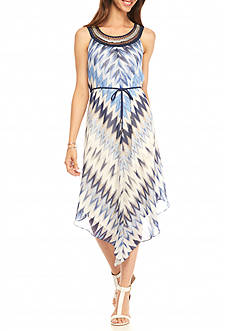 Sandra Darren Chevron Printed Hankie Hem Dress