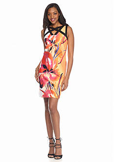 Sandra Darren Crisscross Neckline Scuba Sheath Dress