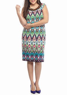 Sandra Darren Plus Size Bead Embellished Printed Shift Dress