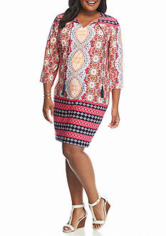 Sandra Darren Plus Size Printed Shift Dress