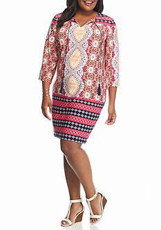 Sandra Darren Plus Size Printed Shift Dress