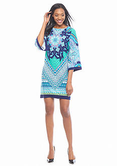 Sandra Darren Printed Bell Sleeve Shift Dress