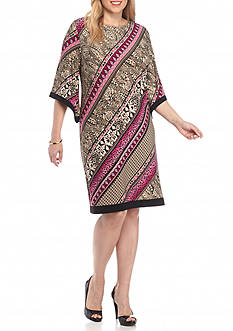 Sandra Darren Plus Size Printed Bell-Sleeve Shift Dress