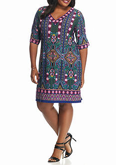 Sandra Darren Plus Size Paisley Printed Shift Dress