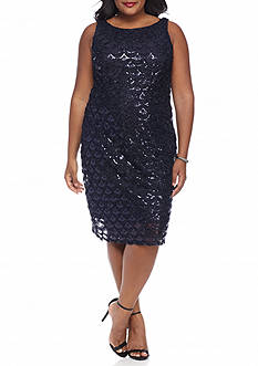 Sandra Darren Plus Size Mesh and Sequin Cocktail Dress