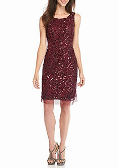 Sandra Darren Sequin Mesh Sheath Dress