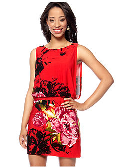 Studio 1 Petite Sleeveless Blouson Printed Dress