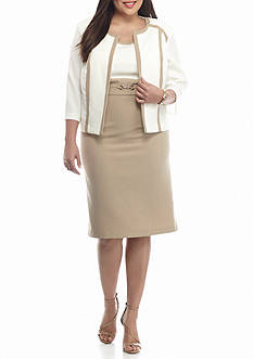 Studio 1 Plus Size Colorblock Jacket Dress
