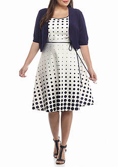 Studio 1 Plus Size Polka Dot Jacket Dress