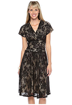 Perceptions Cap Sleeved Lace Overlay Dress