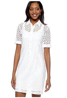 Chelsea Suite Three-Quarter Sleeved Eyelet Shirt Dress