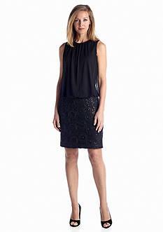 Perceptions Sleeveless Blouson Dress with Sequin