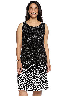 Chelsea Suite Plus Size Sleeveless Polka Dot Dress