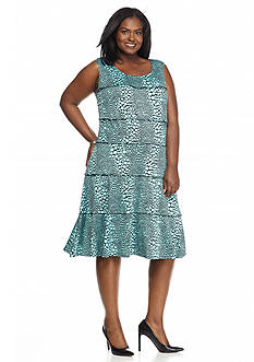 Perceptions Plus Size Polka Dot Printed A-Line Dress