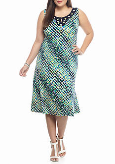 Perception Plus Size Plus Size Bead Embellished Printed Shift Dress